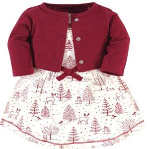 Baby Girls' Organic Cotton Dress and Cardigan